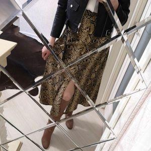 Snake Print Midi Skirt With Slit